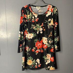 TMG Woman's Floral Dress Long Sleeve Black Size S
